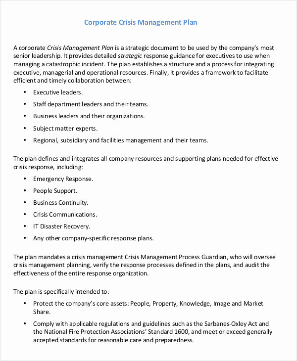 Crisis Management Plan Template Awesome 11 Crisis Management Plan Templates Sample Word Google