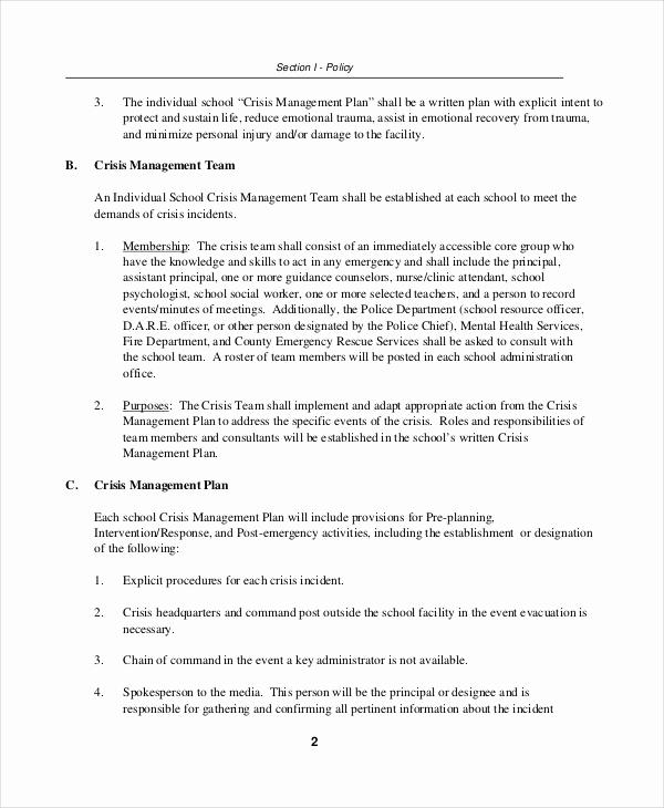 Crisis Management Plan Template Inspirational Crisis Plan Template 10 Word Pdf Google Docs Apple