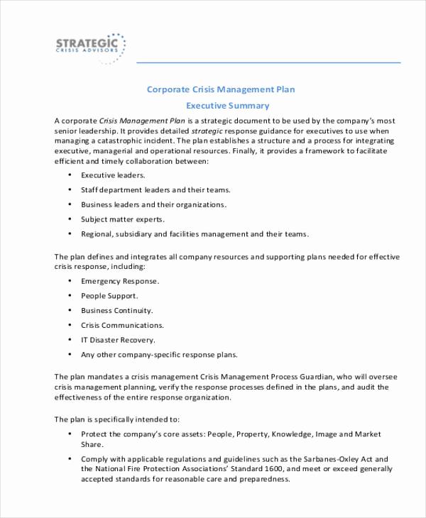 Crisis Management Plan Template Lovely Crisis Management Plan Templates 10 Free Word Pdf