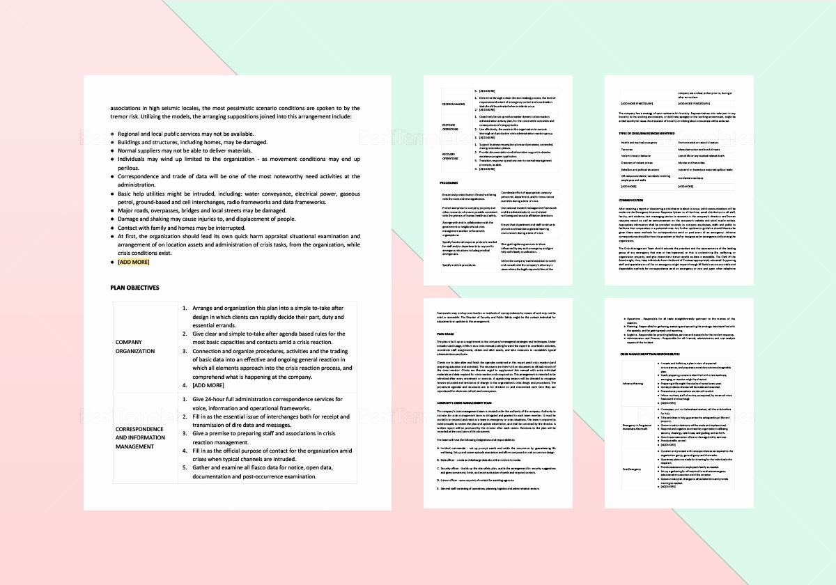 Crisis Management Plan Template Luxury Crisis Management Plan Template In Word Apple Pages