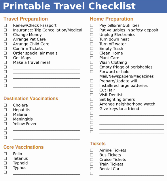 Cruise Packing List Pdf Lovely 9 Travel Checklist Samples