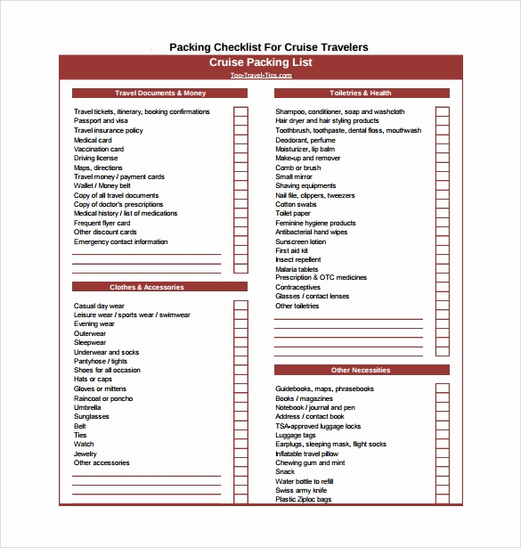 Cruise Packing List Pdf Lovely Packing Checklist Template 16 Download Free Documents