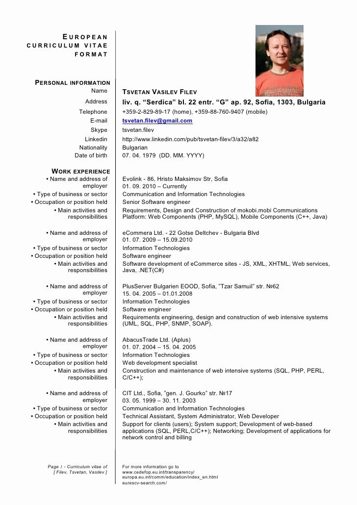 Curriculum Vitae Sample format Awesome German Cv Template Doc