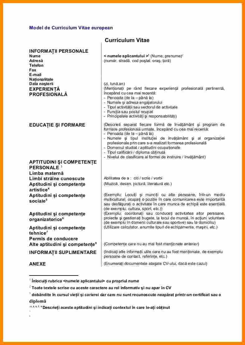 Curriculum Vitae Sample format Beautiful 5 Curriculum Vitae Exemplu