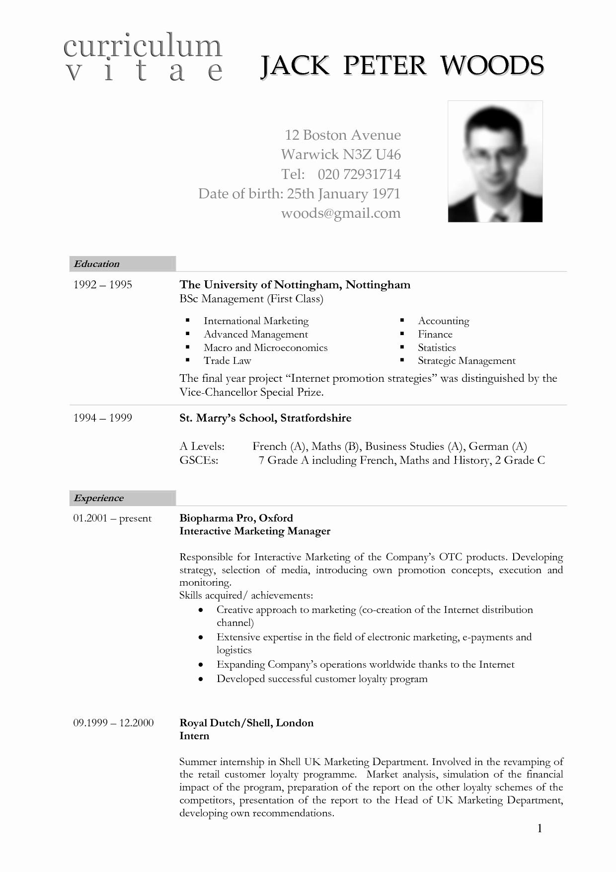 Curriculum Vitae Sample format Beautiful German Cv Template Doc