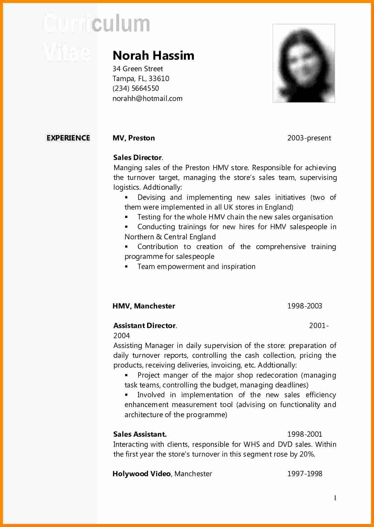Curriculum Vitae Sample format Elegant 11 Curriculum Vitae Example Doc