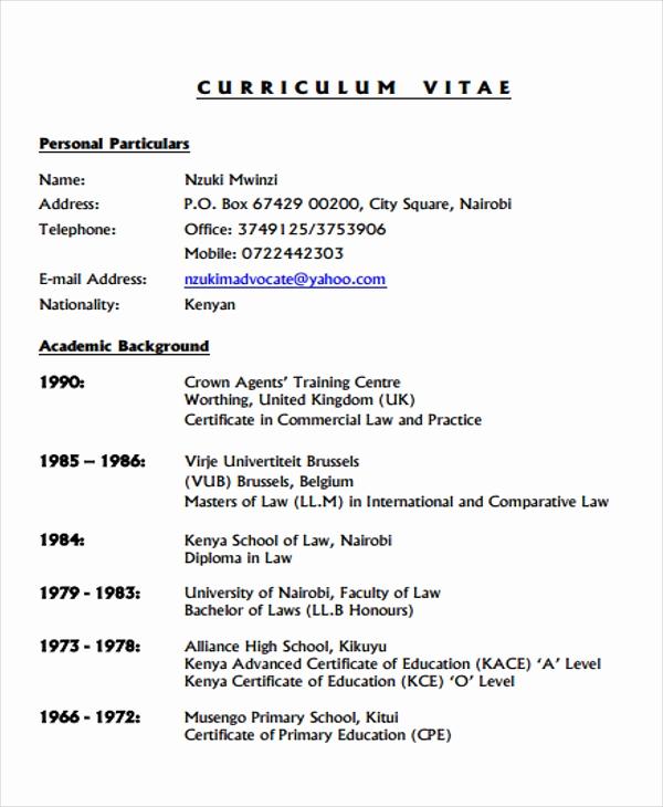 Curriculum Vitae Sample format Elegant 9 Legal Curriculum Vitae Templates Word Pdf