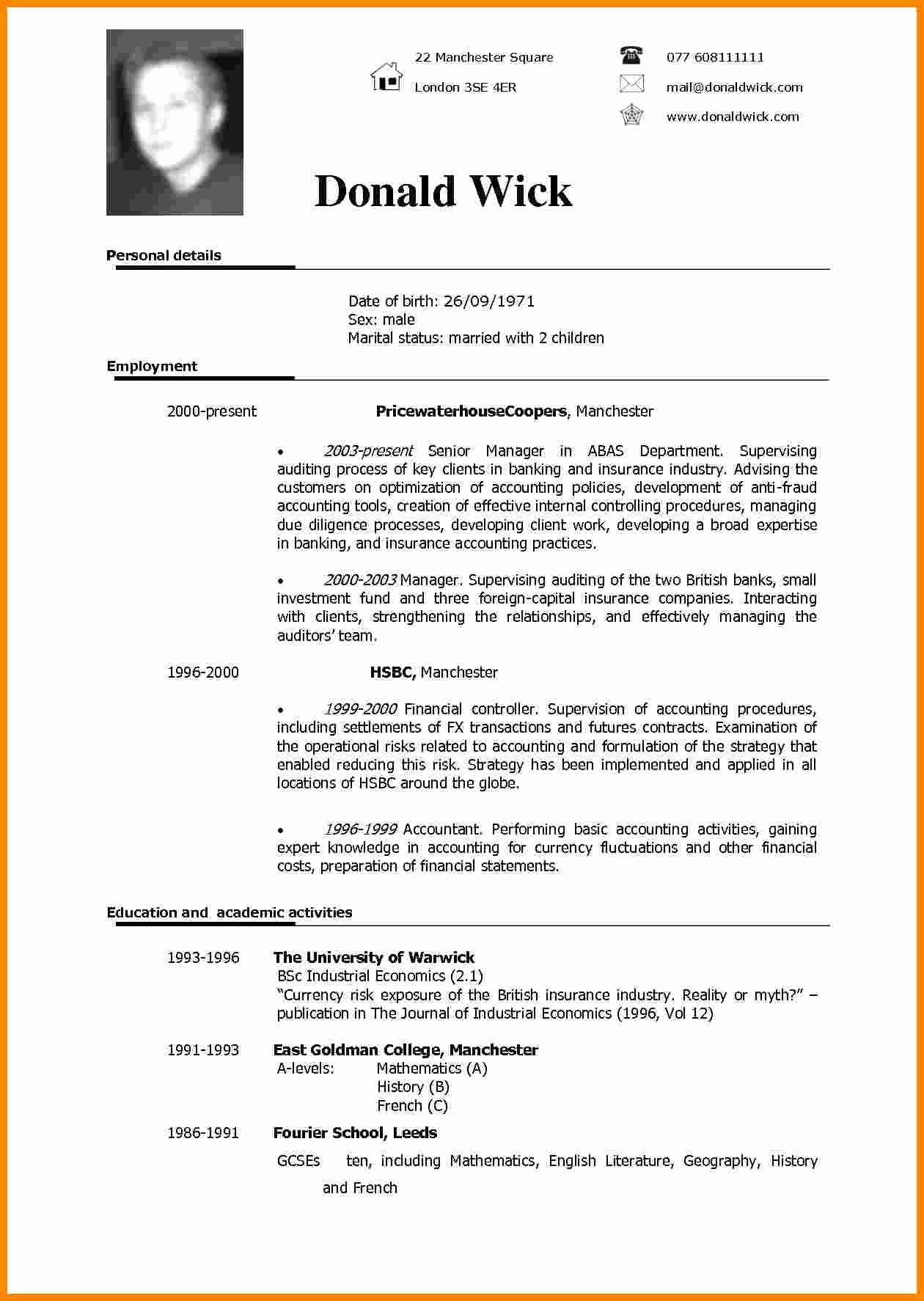 Curriculum Vitae Sample format Fresh 5 Cv Sample In English
