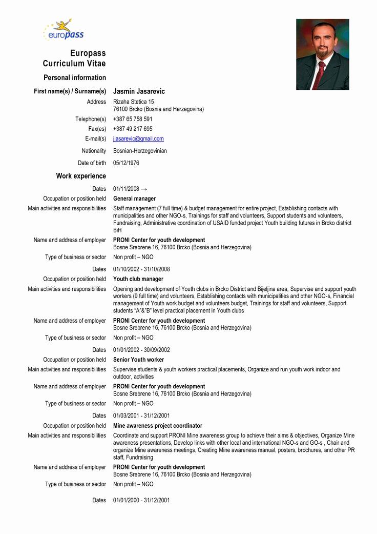Curriculum Vitae Sample format Inspirational Europass Curriculum Vitae Europass Cv format Doc