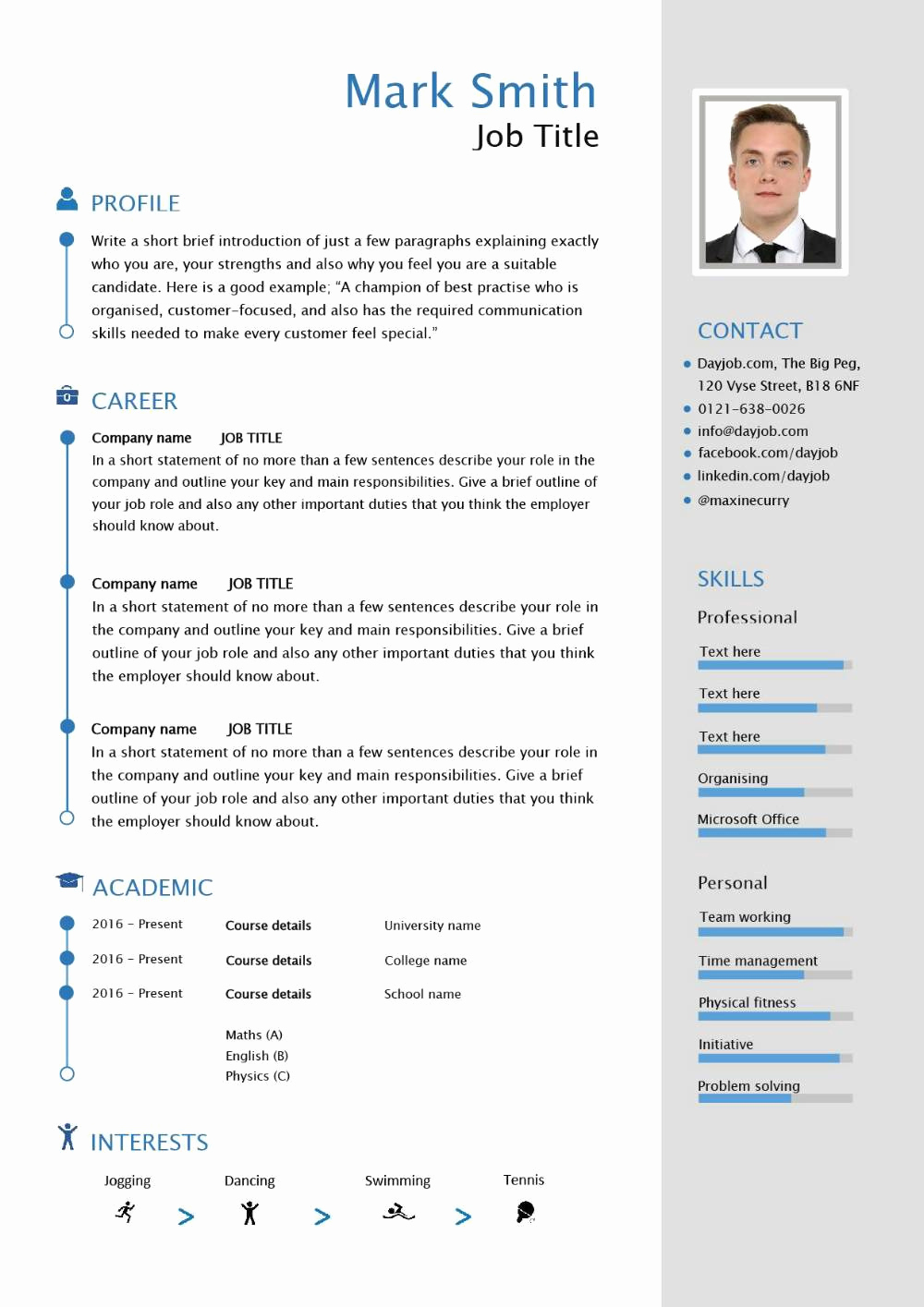 Curriculum Vitae Sample format New Free Able Cv Template Examples Career Advice How