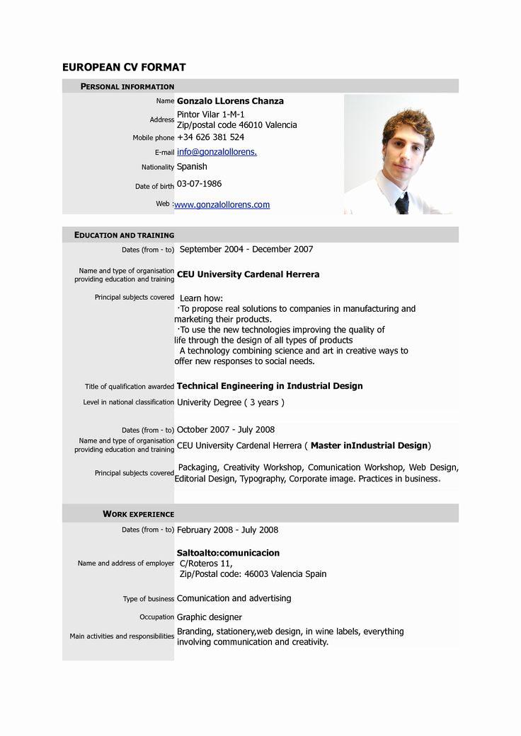Curriculum Vitae Sample format Unique Free Download Cv Europass Pdf Europass Home European Cv