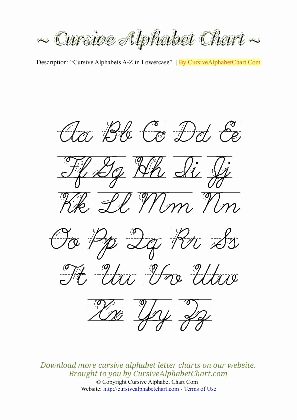 Cursive Handwriting Practice Pdf Inspirational Uppercase & Lowercase Cursive Alphabet Charts with Arrows