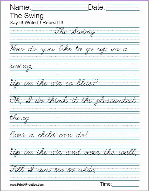 Cursive Handwriting Practice Pdf Luxury Printable Handwriting Worksheets ⭐ Manuscript and Cursive