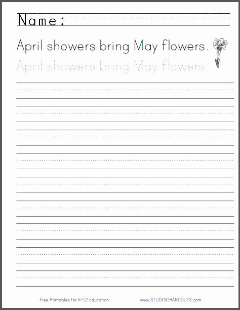 Cursive Writing Practice Pdf Fresh April Showers Handwriting Practice Worksheet