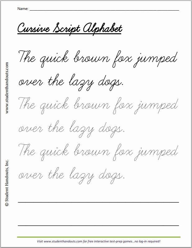 Cursive Writing Practice Pdf Fresh Quick Brown Fox Cursive Writing Practice Worksheet