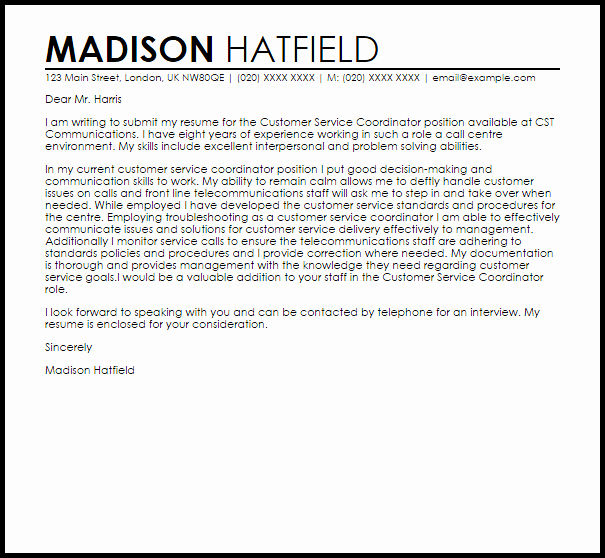 Customer Service Cover Letter Examples Lovely Customer Service Coordinator Cover Letter Sample