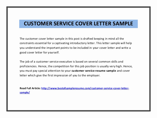 Customer Service Cover Letter Examples Luxury Customer Service Cover Letter Sample Pdf