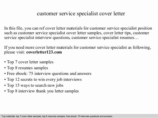 Customer Service Cover Letter Samples Fresh Customer Service Specialist Cover Letter