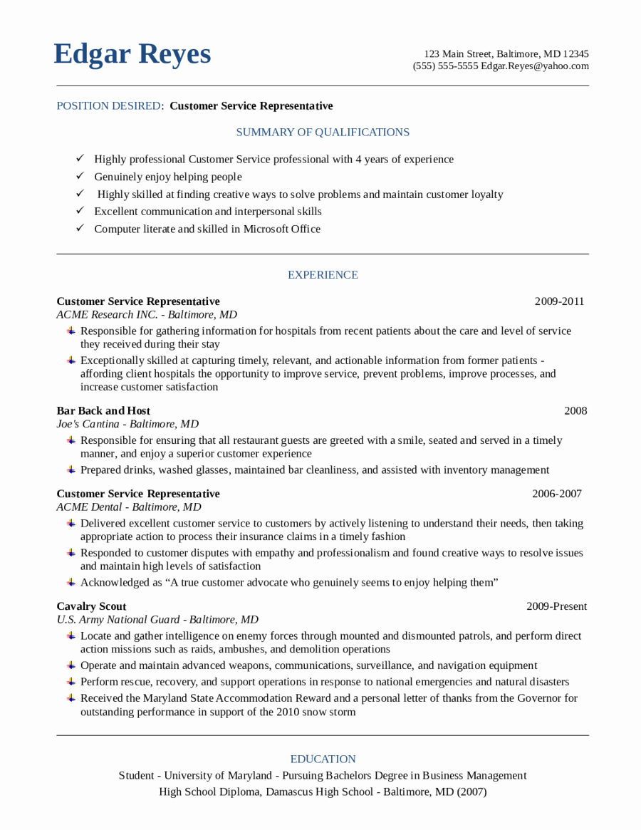 Customer Service Resume Samples Free Fresh Customer Service Resume Free Customer Service Resume
