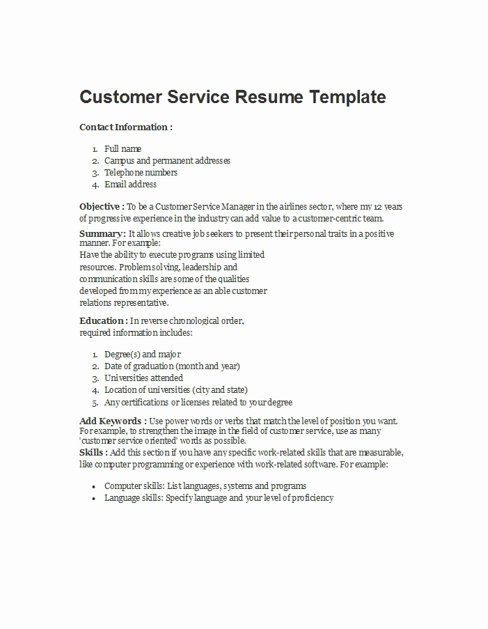Customer Service Resume Template Beautiful 30 Customer Service Resume Examples Template Lab