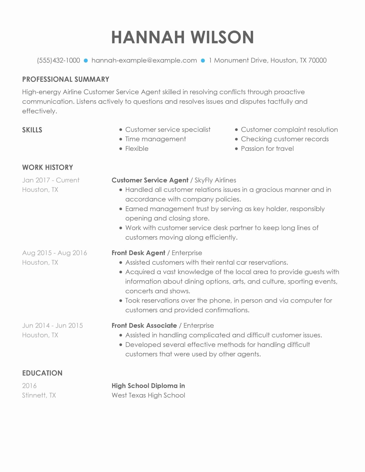 Customer Service Resume Template Best Of Customer Service Representative Examples & Samples