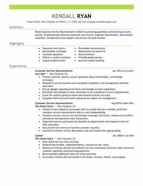 Customer Service Resume Template Elegant Best Retail Customer Service Representative Resume Example