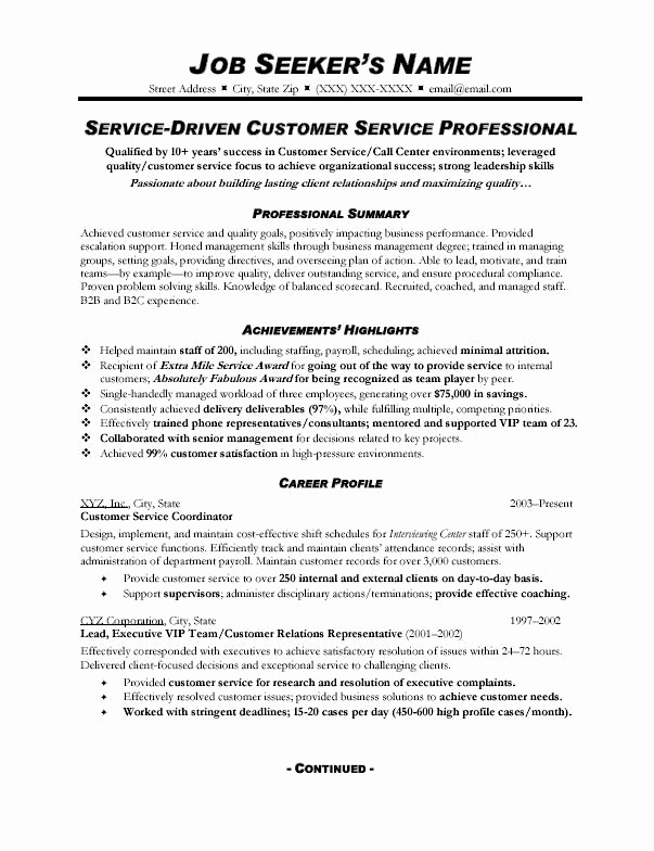 Customer Service Resume Template Elegant Customer Service Resume Sample 328 topresume