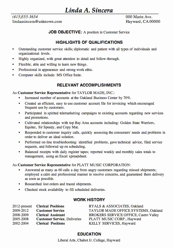 Customer Service Resume Template Fresh 32 Best Resume Example Images On Pinterest