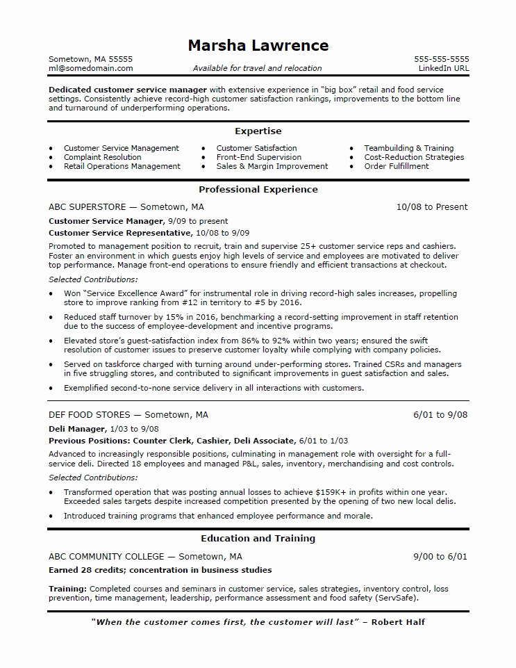 Customer Service Resume Template Fresh Customer Service Manager Resume Sample
