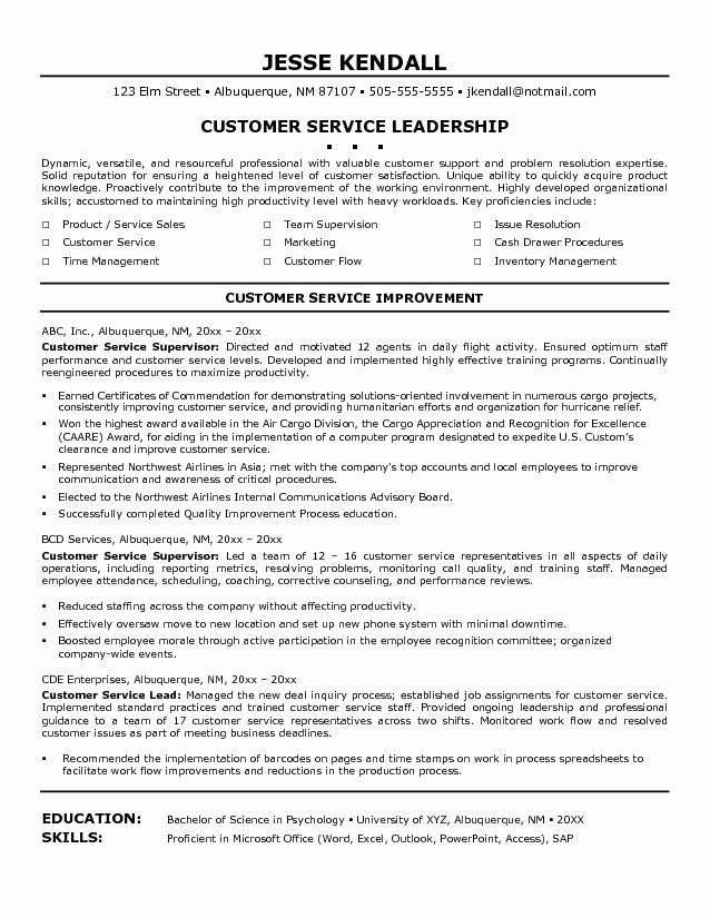 Customer Service Resume Template Unique Customer Service Resume Resume Cv