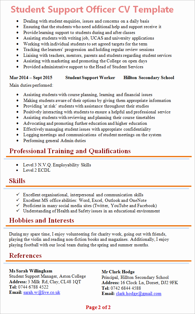 Cv Examples for Students Awesome Student Support Officer Cv Template 2