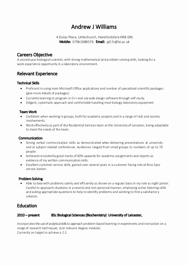 Cv Examples for Students Best Of 14 Example Of A Good Cv for Student Resume