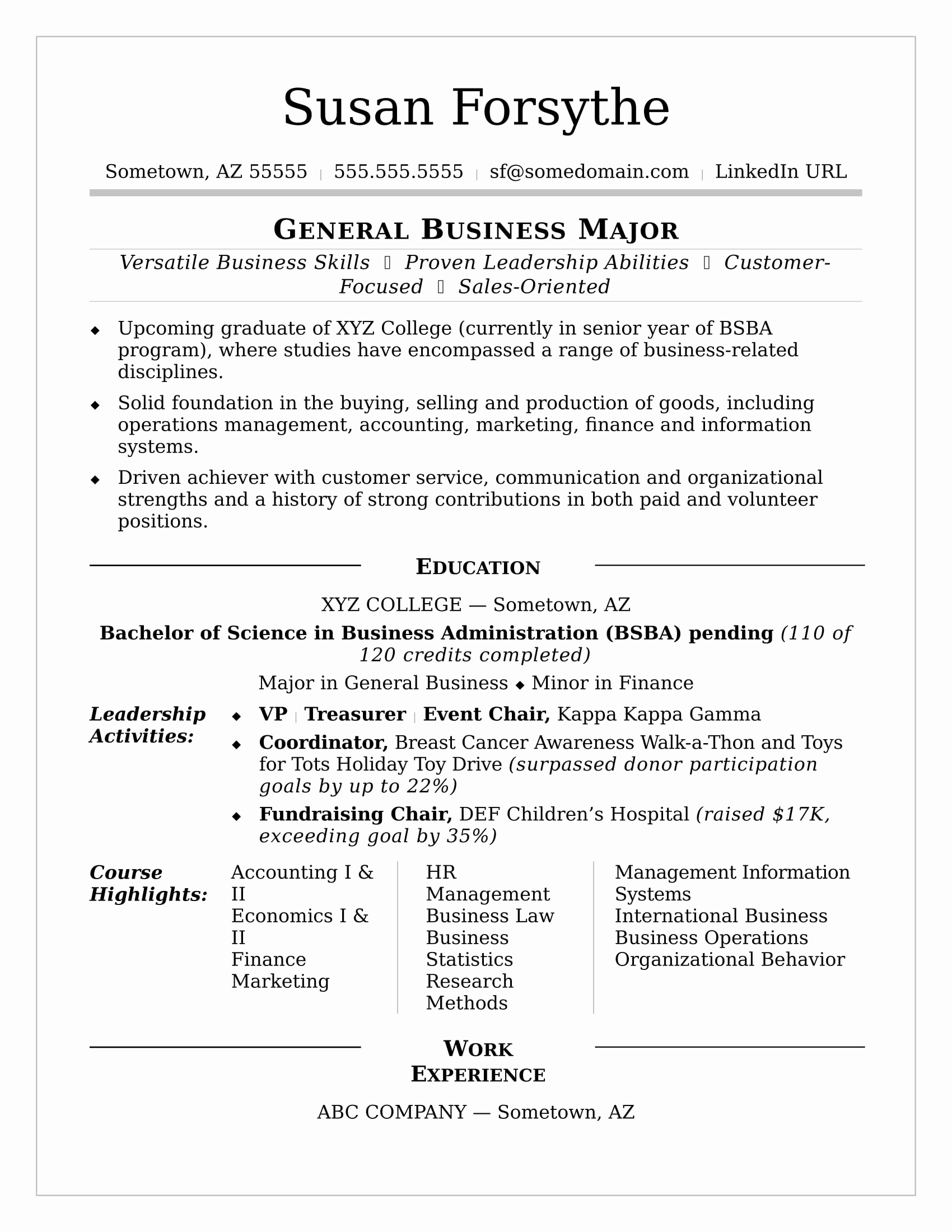 Cv Examples for Students Elegant College Resume Sample