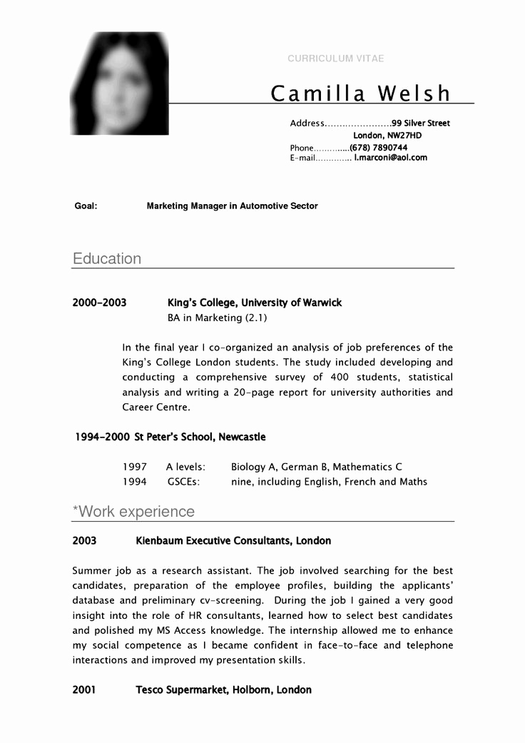 Cv Examples for Students Elegant Cv Template University Student