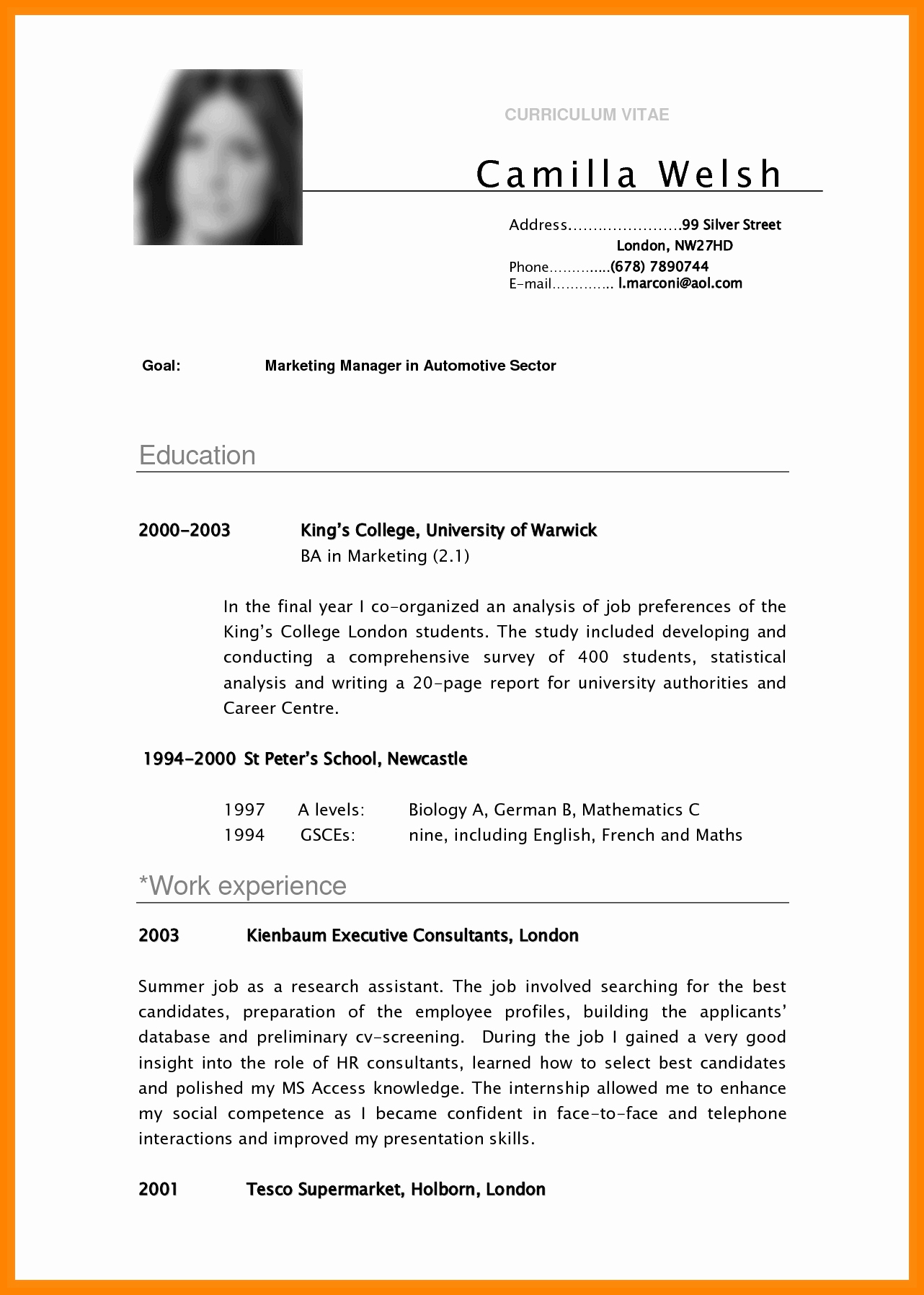 Cv Examples for Students New 5 Cv Samples for Undergraduate Students