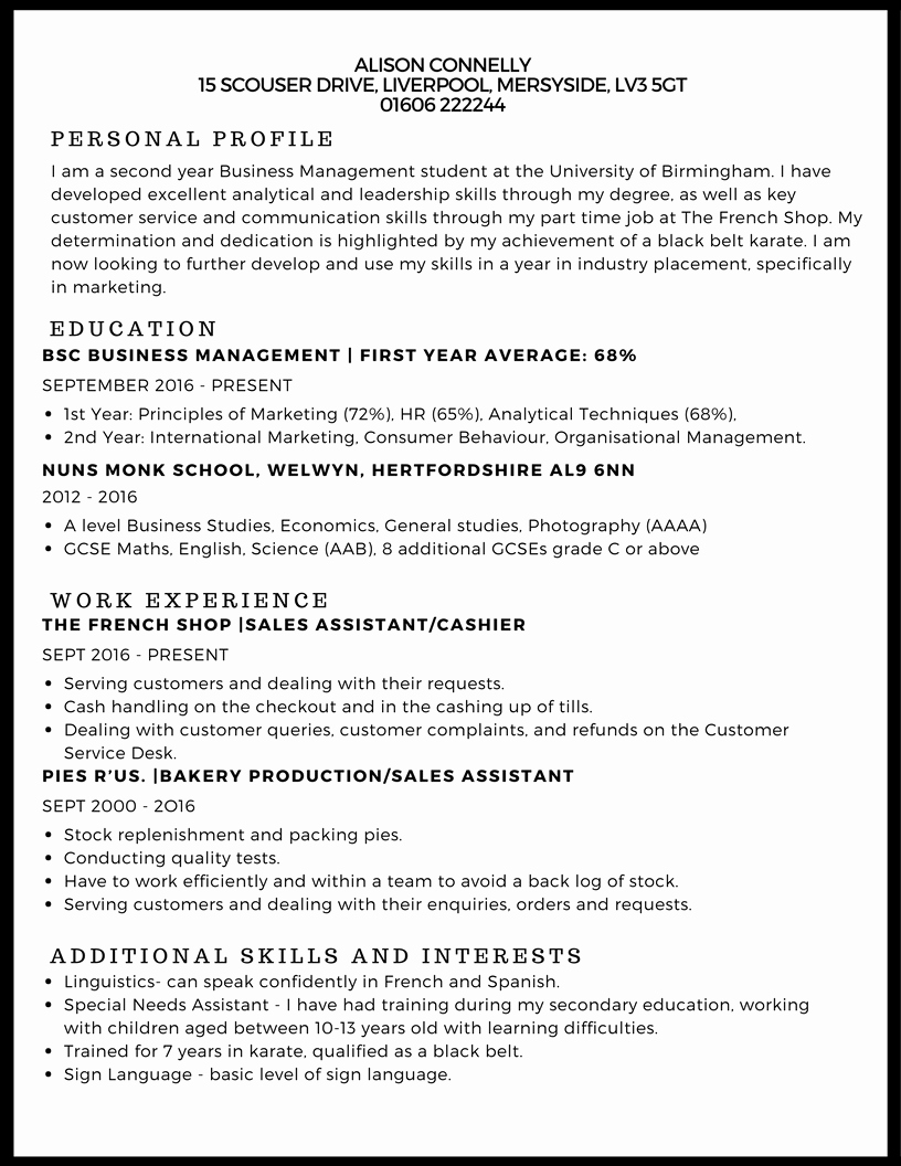 Cv Examples for Students Unique Cv Example