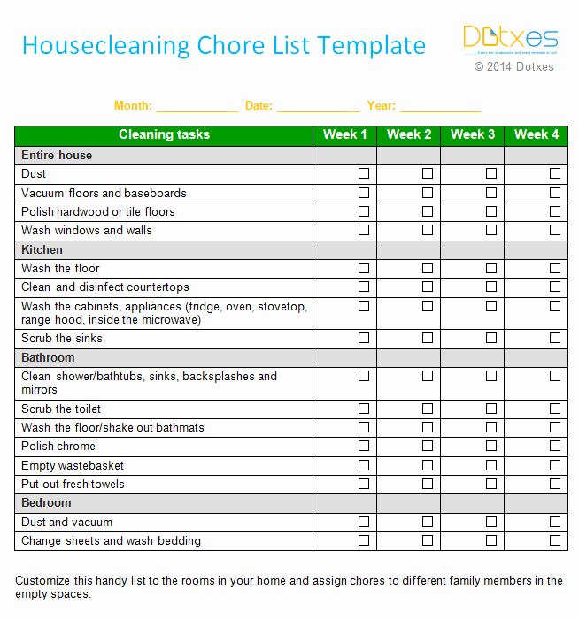 house cleaning chore list weekly