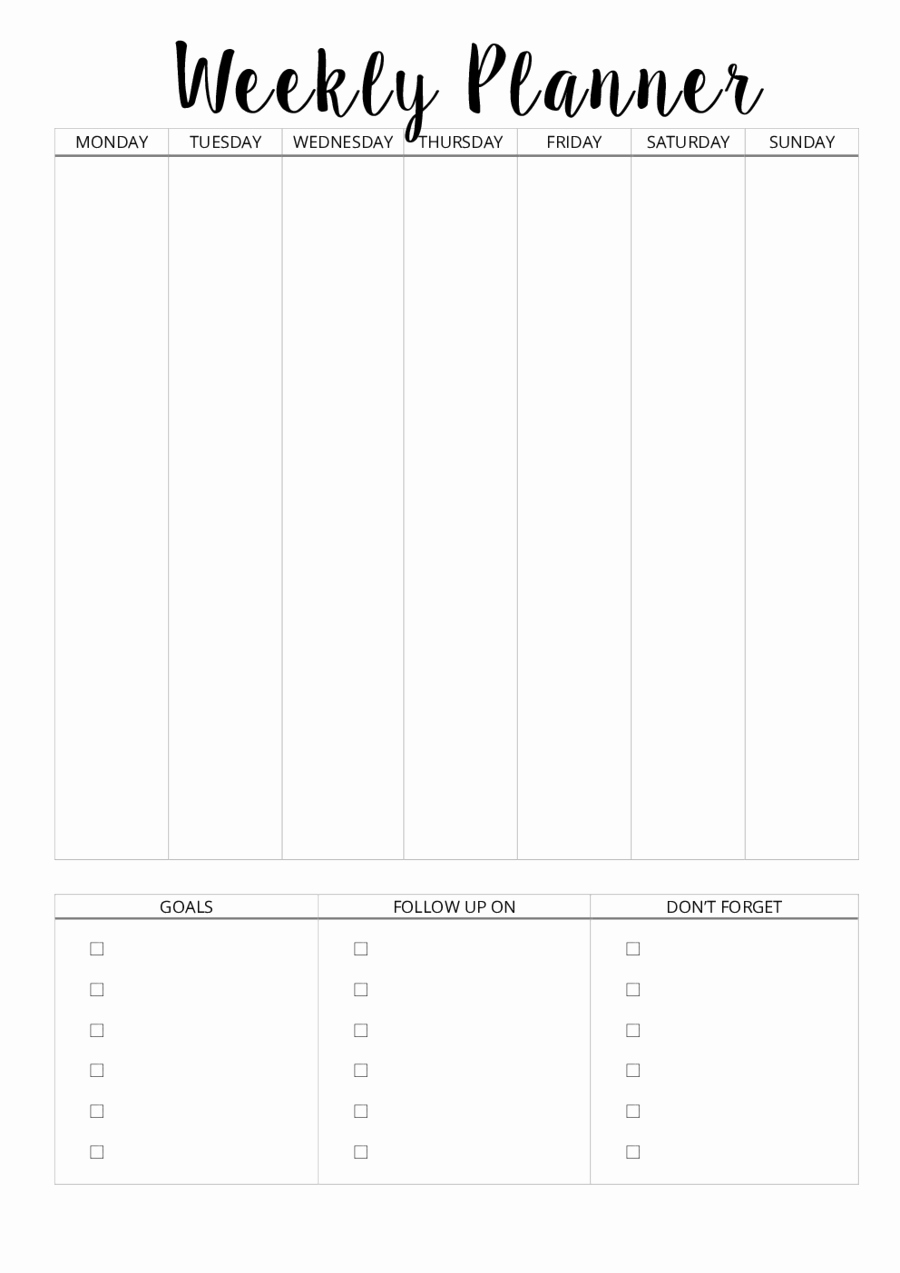 Daily Planner Printable Pdf Awesome 2019 Weekly Planner Template Fillable Printable Pdf