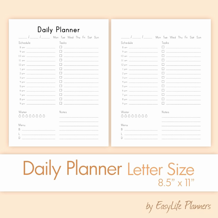 """Daily Planner Printable Pdf Inspirational Daily Planner Letter Size 8 5""""x11"""" Grayscale Printable"""