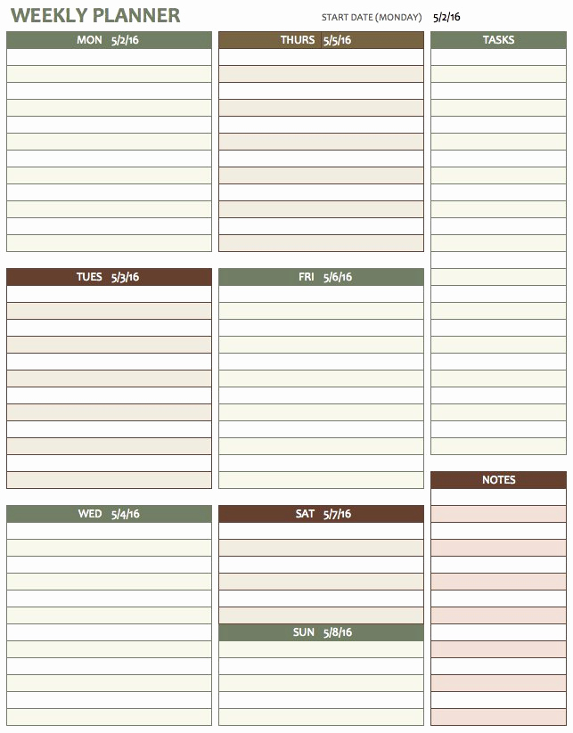 Daily Planner Template Excel Fresh Free Weekly Schedule Templates for Excel Smartsheet