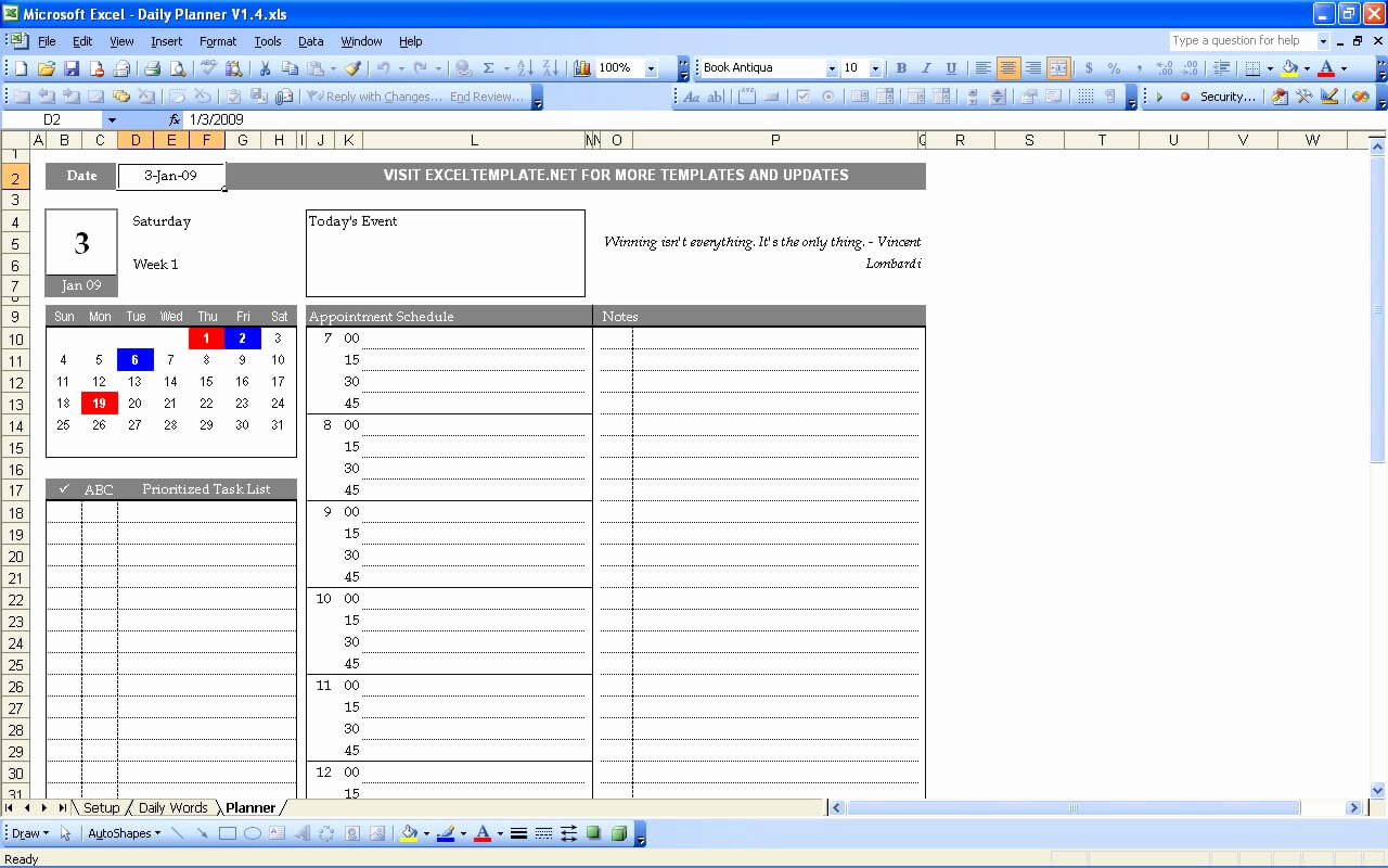 Daily Planner Template Excel Lovely Daily Planner