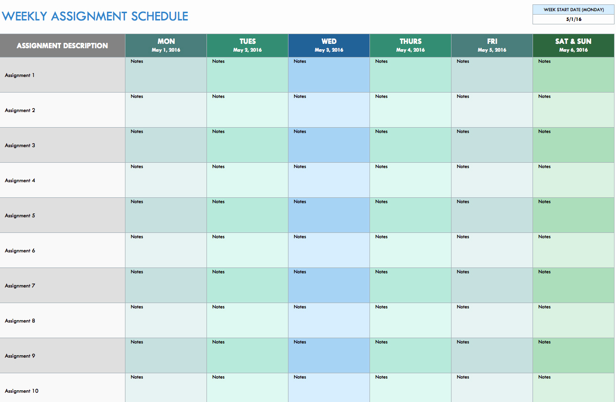 Daily Planner Template Excel New Free Weekly Schedule Templates for Excel Smartsheet