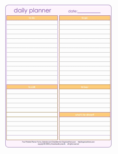 Daily Planner Template Word Awesome 6 Daily Planner Templates Word Excel Templates