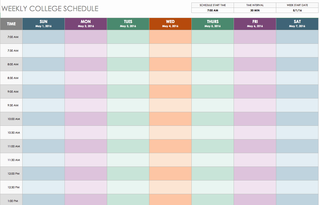 Daily Schedule Template Excel Beautiful Free Weekly Schedule Templates for Excel Smartsheet