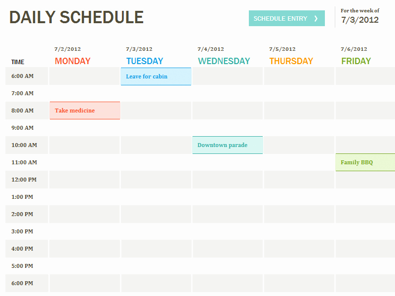 Daily Schedule Template Excel Best Of Daily Schedule Template