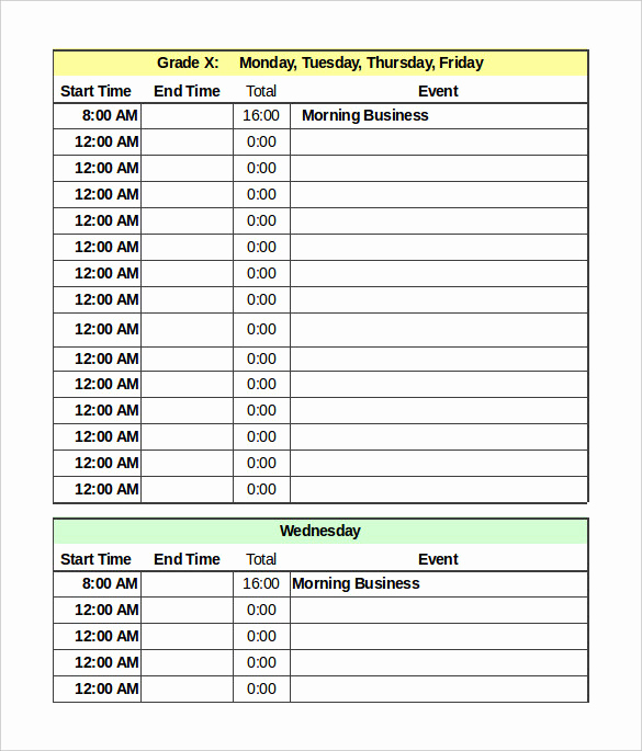 Daily Schedule Template Excel Lovely Daily Schedule Template 37 Free Word Excel Pdf