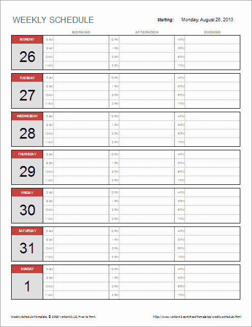 Daily Schedule Template Excel Lovely Free Weekly Schedule Template for Excel