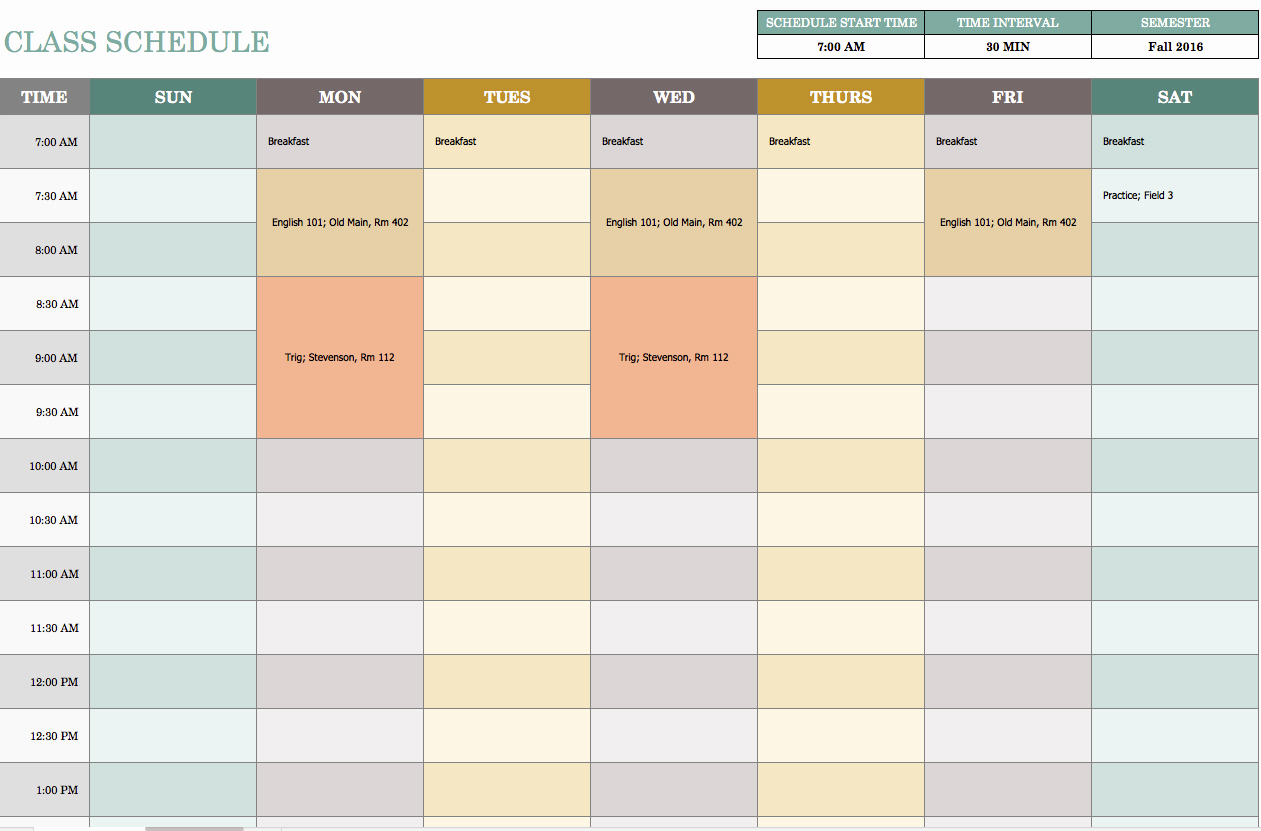 Daily Schedule Template Excel New Free Weekly Schedule Templates for Excel Smartsheet