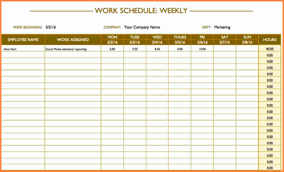 Daily Schedule Template Excel Unique 10 Schedule Spreadsheet Template