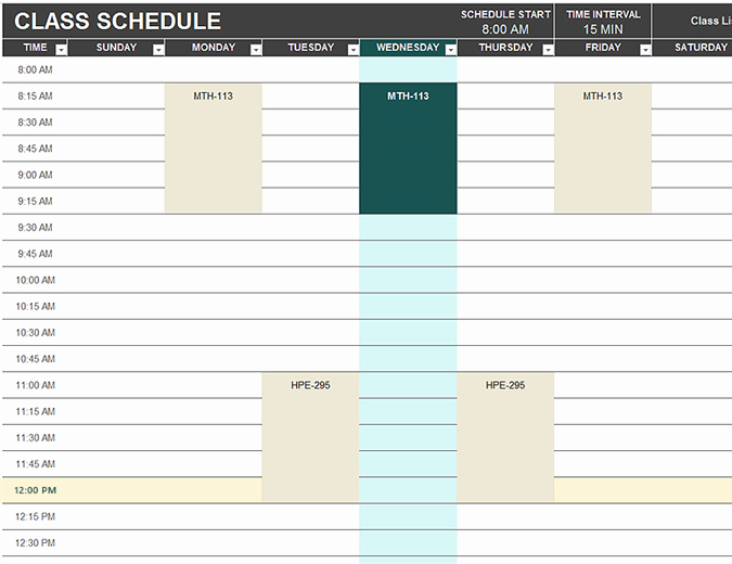 Daily Schedule Template Excel Unique Student Schedule